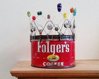 folgers coffee crown - vintage can, wire, beads, and baubles