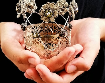 tiny crown - vintage basket, wire, beads, and baubles