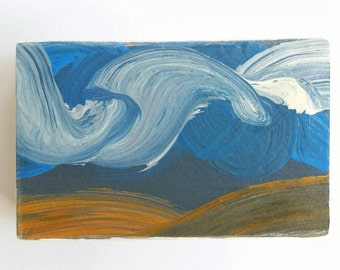 palouse three - original wood block sky painting