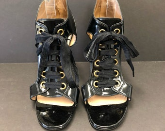 4f2b06de0533 Yves Saint Laurent YSL Black Patent Leather Lace-Up Sandal Heel Size US 8  Open Toe Cutout Side