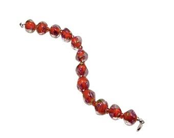 Glass Bracelet, Wrist Bracelet, Orange Bracelet, Handmade Bracelet, Fashion Jewelry, Dressy Jewelry, Career Wear