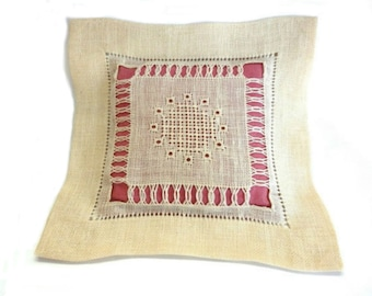 MidCentury Drawn Thread Embroidered Linen Accent Pillow