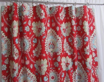 Red Curtain Panels Hipster Floral Drapes Bohemian Modern Boho Window Treatments Rod Pocket Curtains One Pair 50W