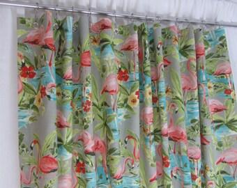 Retro Shower Curtain Tropical Pink Flamingo Bathroom Decor