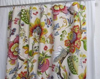 Bright Floral Curtains Pink Yellow Green Blue Drapes Cottage Decor Feminine Window Fun Rod Pocket One Pair 50W