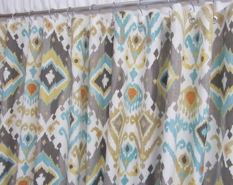 Boho Ikat Shower Curtain Bohemian Home Decor