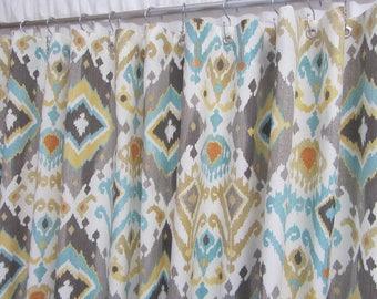 Boho Shower Curtain, Bohemian Decor, Ikat Shower Curtain, Blue Brown Shower  Curtain, Modern Trendy Shower Curtain
