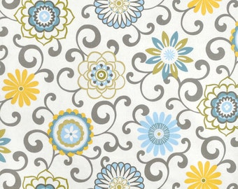 Blue Yellow Window Curtains Floral Medallion Curtain Panels Grey Scroll Drapes Girls Bedroom Drapery Rod Pocket One Pair 50W