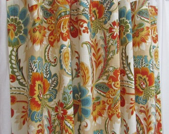 Teal Orange Curtains Bright Floral Traditional Window Home Decor Modern Custom Rod Pocket Drapes One Pair 50W