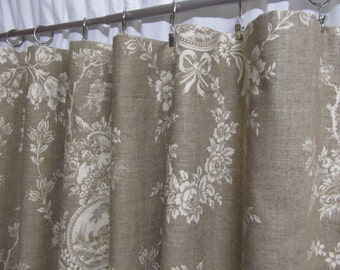 French Country Curtains Neutral Toile Drapes Linen Colored Window Shabby Chic Rod Pocket One Pair 50W