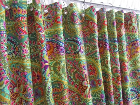 Bohemian Shower Curtain Bright Green Bathroom Decor