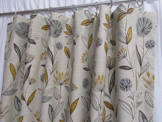 Retro floral gordijnen botanische print gordijnen mosterd etsy