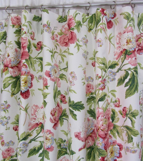 Pink Floral Curtains Shabby Chic Drapery Panels Etsy