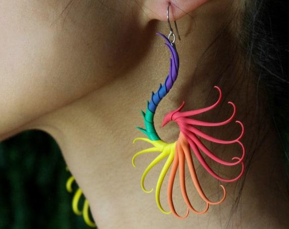 Rainbow Large Swoop Earrings