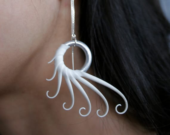 White Plume Earrings on sterling thread chains