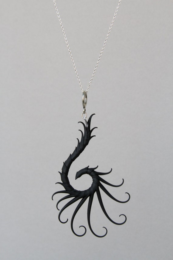 "Nykteris Wing Necklace with Soft Spikes on  16"" sterling silver chain"