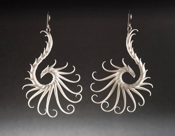 Heliplume Large Swoop Earrings with Soft White Spikes