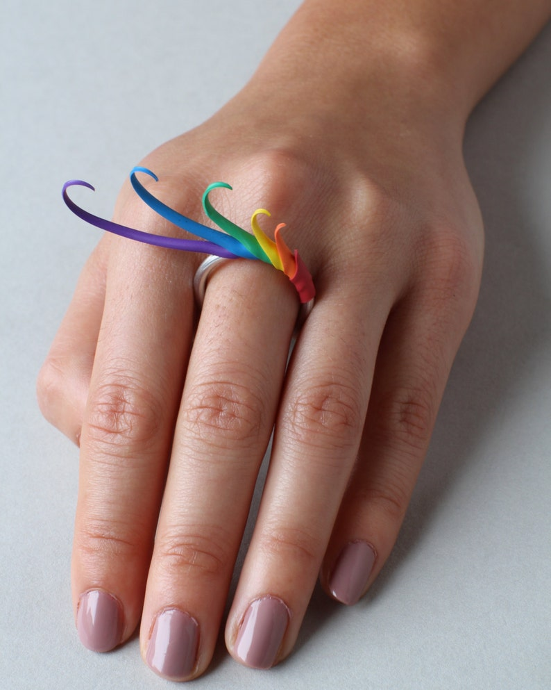 Rainbow Multiplume Ring image 0