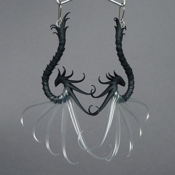Anisopteroid Large Swoop Earrings with soft translucent spines