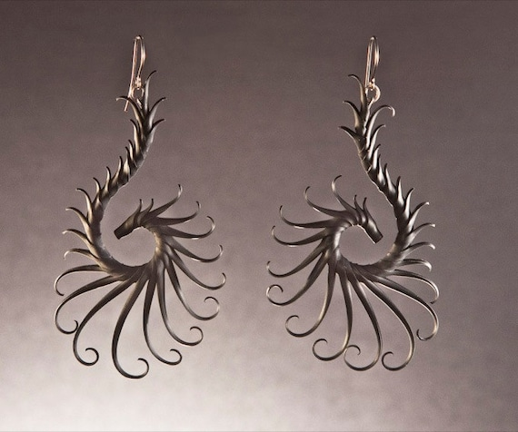 Nykteris Wing Large Swoop Earrings with Soft Spikes