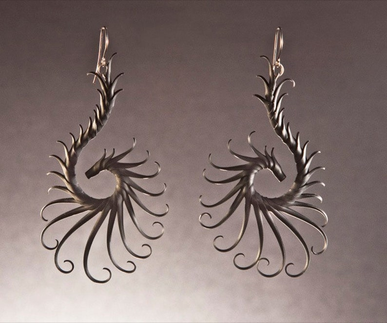 Nykteris Wing Large Swoop Earrings with Soft Spikes image 0
