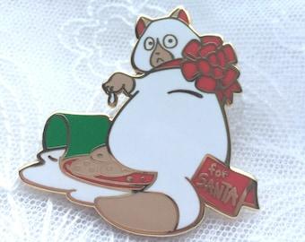 Christmas Cat Pin Holiday Pin Hard Enamel Pin