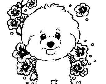 Cute Bichon Frise Dog Puppy Coloring Page