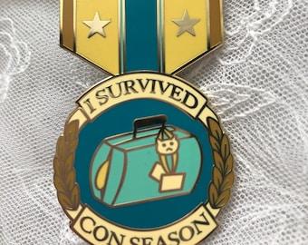 I Survived Con Season Enamel Pin Badge of Honor Award // convention