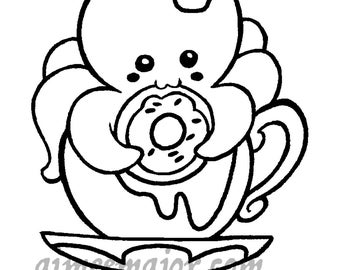 Octopus Donut Tea Cup Coloring Page