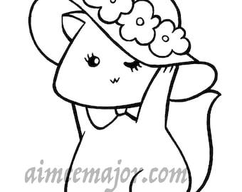 Fancy Hat Cat Coloring Page