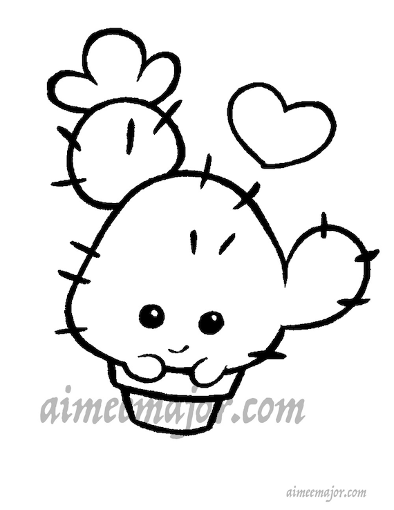Cute Cactus Coloring Page Etsy