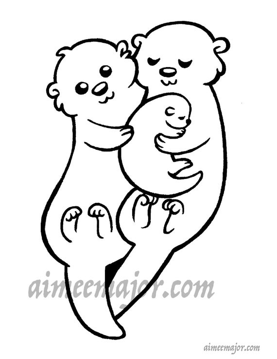 Cute Otter Family Coloring Page   Etsy