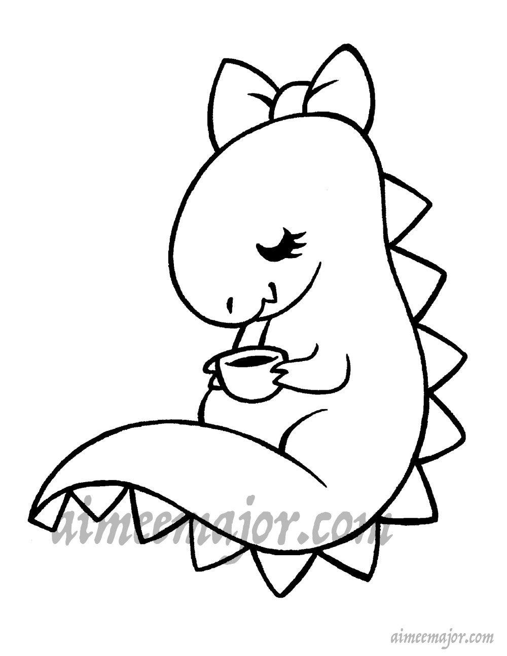 Dinosaurier trinken Tee-Malseite