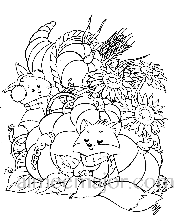 Süße Herbst Thanksgiving Tier Färbung Seite druckbare Tischset