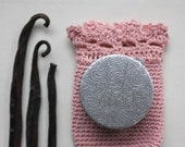 Lyra Solid Natural Perfume Compact in a Blush Pouch - A Victorian Inspired Round Case with a Sweet, Floral Fragrance - Luxury item