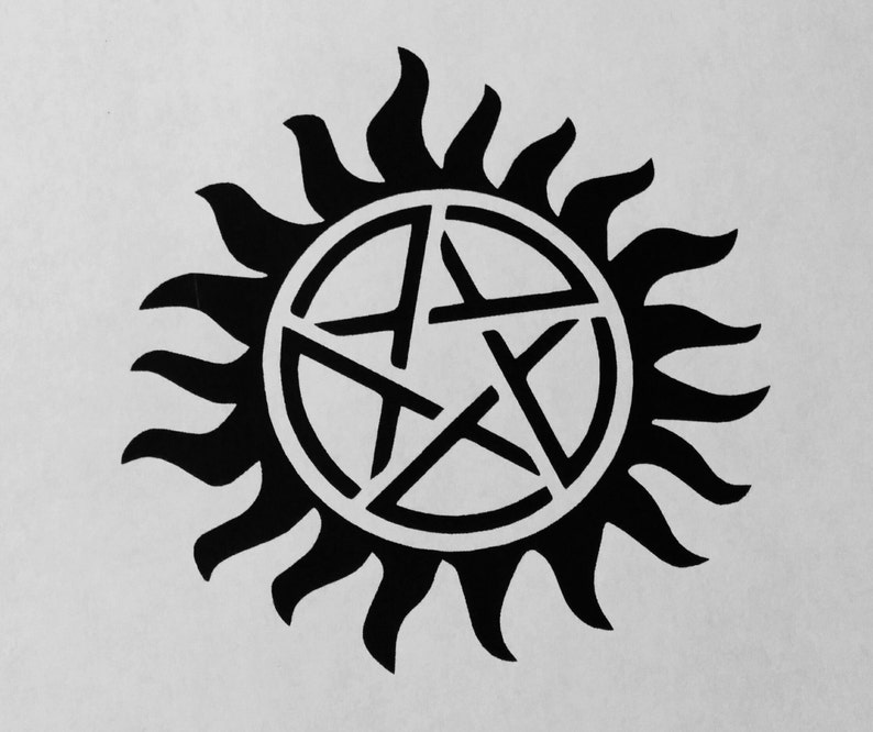 Supernatural Inspired Anti Possession Symbol Precision Cut Vinyl Car Window  Decal Sticker for fans of the TV show Sam and Dean's Tattoo