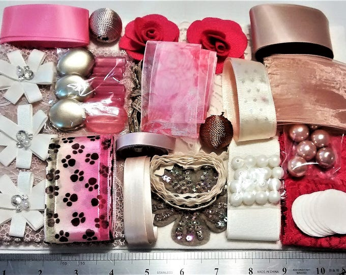 Featured listing image: CP-101, A Big Crafting Pack Chock Full of Beige, Cream, Pink, and Hot Pink, Lace, Ribbons, Beads, Buttons, Flowers, and Shiny Things
