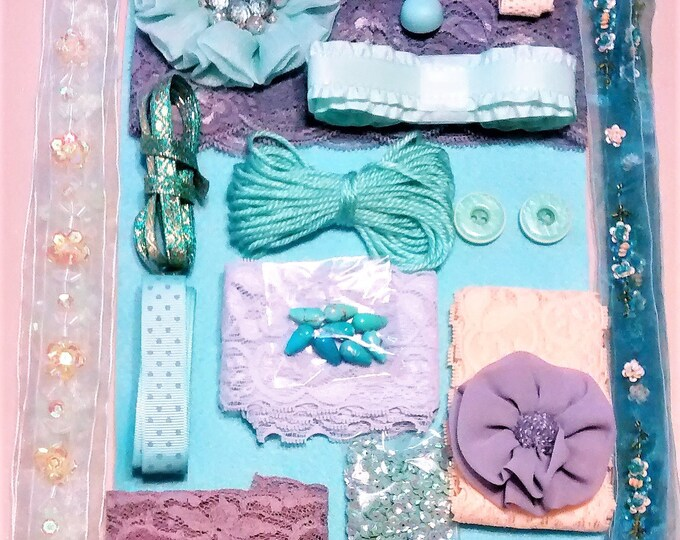 Featured listing image: CP-103, Gorgeous Crafting Pack of Wonder-full of Teal, Peach, Lavender, Elegant Lace, Ribbons, Sequins, Rhinestones, Beads, and Shiny Things