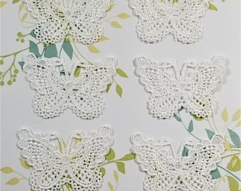 E-241; Six White Embroidered Beautiful Butterflies