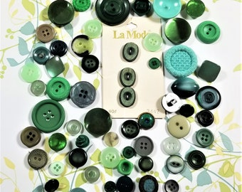 B-127; A Large Selection (65) of Assorted Green and Turquoise Buttons- All Shapes and Sizes -Mostly Vintage