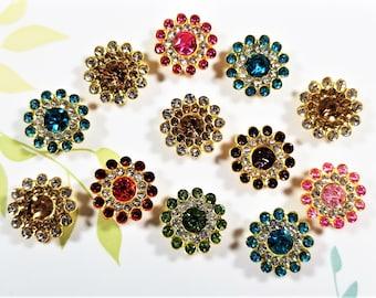 E-244; Beautiful Petite Embellishments of an Assortment of Rhinestones-Outstanding Colors-12 Per Order