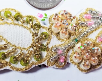 E-243;  Beautiful Cream Pink and Green Applique Accented with Seed Beads, Pearls, and Sequins