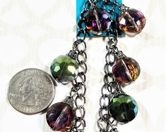 BF-322;  Ten Beautiful Aurora Borealis Faceted Glass Beads on a Chain with Filigreed Caps