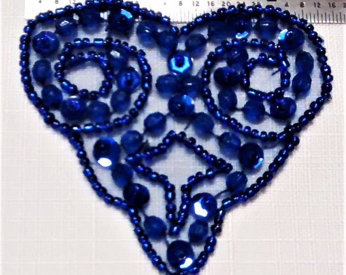 Featured listing image: E-165 Royal Blue Heart Applique with Sequins, Faceted and Seed Beads
