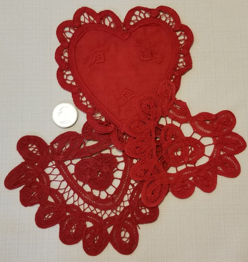 Three Assorted Red LR-168 Battenburg Lace Heart Doilies