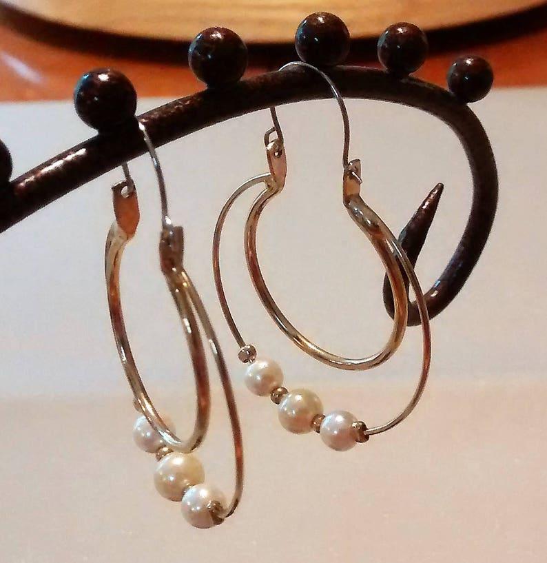 OJE-127 Vintage Hoop Earrings with Pearls