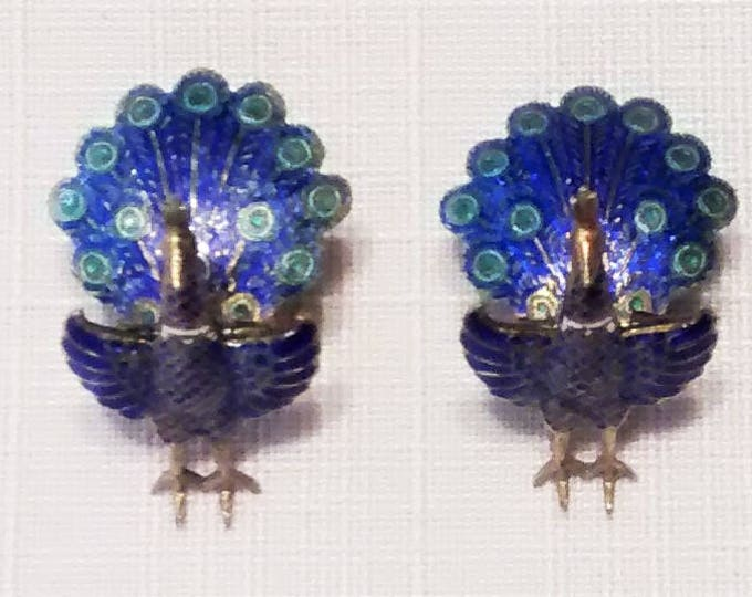 Featured listing image: OJE-146 Vintage Siam (Thailand) Sterling Silver Peacock Articulated Earrings