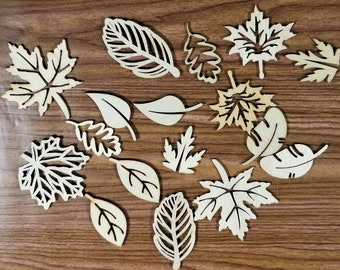 E-240; Seventeen Wooden Cutouts of Leaves Assorted Sizes and Shapes
