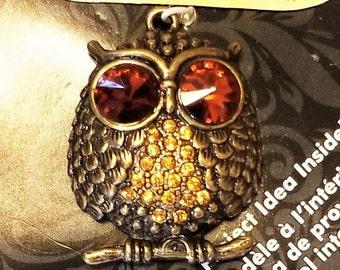 M-153: A Cute Antique Gold Owl with Amber Rhinestone Eyes and Gold Rhinestone Breast