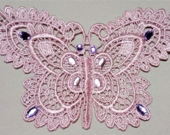 SE-102 Pink Butterfly Applique with Rhinestones